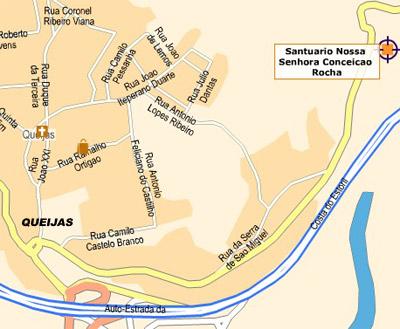 mapa localização do Santuário da Rocha
